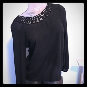 Tops - Black Low Back Blouse